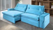 Sofá de Suede Retrátil e Reclinável 2 Módulos de 0,90m - 2,30 x 1,14 x 1,23  Turquesa Azul - Elyte Sofás