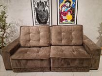 Sofa luxury veludo cinza 4 lugares retrátil e reclinavel c/ molas ensacadas -