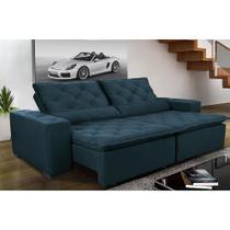 Sofá Magnum 2,82m Retrátil, Reclinável com Molas no Assento e Almofadas Lombar Tecido Suede Grafiato Azul - Cama InBox -