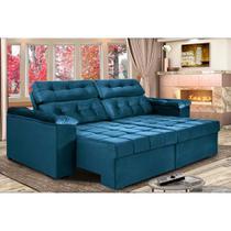 Sofá New Itália 2,52m Retrátil e Reclinável Tecido Suede Azul - Cama InBox -