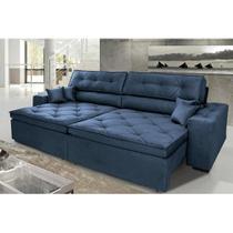 Sofá New Lisboa 2,42m Retrátil, Reclinável com Molas no Assento e Almofadas, Tecido Suede Azul - Cama inbox