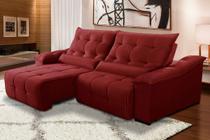 Sofá Retrátil 230 Cm 4 Lugares Duplo Molejo Reclinável D28 Palladium Veludo Vermelho - Grandellar -