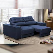 Sofá Retrátil e Reclinável 3 lugares 1,80m Rubia Suede Azul - Adonai Estofados