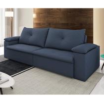 Sofá Retrátil e Reclinável 3 Lugares Tico com Porta Copos D Monegatto Azul -