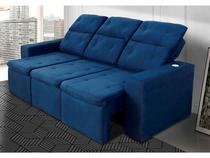 Sofá Retrátil e Reclinável 3 Lugares Veludo - Connect Gralha Azul
