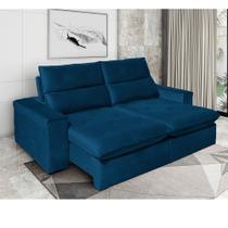 Sofá Retrátil e Reclinável Barcelona 4 Lugares Bipartido Azul 230cm - Megasul -