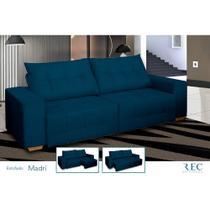 Sofá Retrátil e Reclinável Bi-Partido Madri 4 Lugares Veludo Azul Lux 230cm - Megasul -