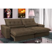 Sofa Retrátil e Reclinável com Molas Ensacadas Cama inBox Soft 2,12 Mts Tecido Suede Café -
