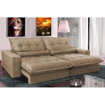 Sofa Retrátil e Reclinável com Molas Ensacadas Cama inBox Soft 2,12 Mts Tecido Suede Castor -