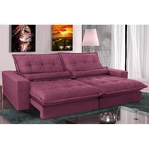 Sofa Retrátil e Reclinável com Molas Ensacadas Cama inBox Soft 2,12 Mts Tecido Suede Vinho -