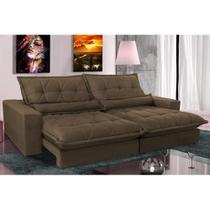 Sofa Retrátil e Reclinável com Molas Ensacadas Cama inBox Soft 2,32 Mts Tecido Suede Café -