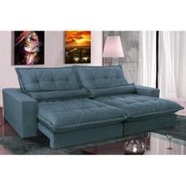 Sofa Retrátil e Reclinável com Molas Ensacadas Cama inBox Soft 2,52 Mts Tecido Suede Azul -