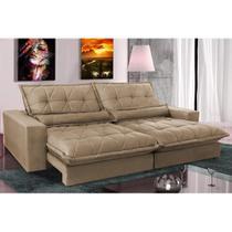 Sofa Retrátil e Reclinável com Molas Ensacadas Cama inBox Soft 2,52 Mts Tecido Suede Castor -
