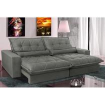 Sofa Retrátil e Reclinável com Molas Ensacadas Cama inBox Soft 2,52 Mts Tecido Suede Cinza -