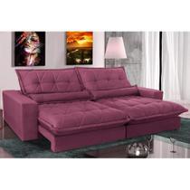 Sofa Retrátil e Reclinável com Molas Ensacadas Cama inBox Soft 2,52 Mts Tecido Suede Vinho -