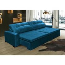 Sofá Retrátil e Reclinavel Oklahoma 2,52m Molas e Pillow no Assento Tecido Suede Azul - Cama InBox -