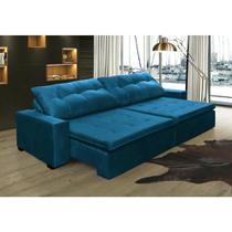 Sofá Retrátil e Reclinavel Oklahoma 2,62m Molas e Pillow no Assento Tecido Suede Azul - Cama InBox -