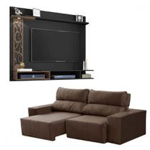 Sofá retrátil e reclinável + painel com led para TV de até 55 polegadas - LojasMM