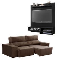 Sofá retrátil e reclinável + painel home para TV de até 50 polegadas - LojasMM
