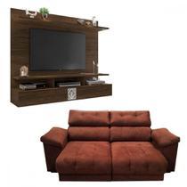 Sofá retrátil e reclinável + painel home para TV de até 60 polegadas - LojasMM