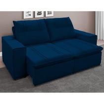 Sofá Retrátil e Reclinável Pequin 4 Lugares Azul 226cm - Megasul -
