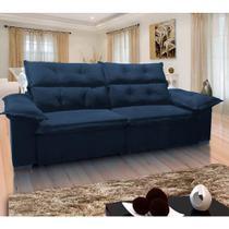 Sofá Retrátil e Reclinável Velar 3 Lugares Sued Azul 260cm - Megasul -