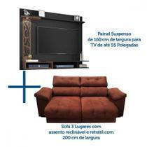 Sofá retrátil + painel com led para TV de até 55 polegadas - LojasMM