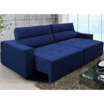 Sofá Top Lubeck 220cm Retrátil Reclinável Azul - WS - Ws Estofados