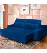 Sofá top lubeck retrátil reclinável 200 azul - ws estofados -