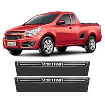 Soleira Chevrolet Montana 2003 a 2019 Protetor de Portas Preto Premium Grafia Personalizada - Np adesivos