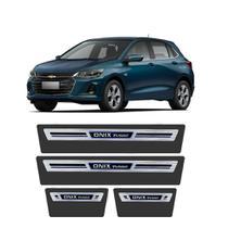 Soleira Chevrolet Onix Turbo 2020 a 2021 Protetor de Portas Aço Escovado Elegance Grafia Personalizada - Np Adesivos