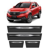 Soleira Fiat Strada 2021 4 Portas Protetor de Portas Aço Escovado Elegance Grafia Personalizada - Np Adesivos