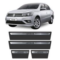 Soleira Volkswagen Voyage 2008 a 2019 Protetor de Portas Aço Escovado Premium Grafia Personalizada - Np Adesivos