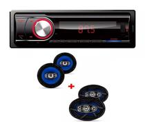 Som Automotivo  Bluetooth Fm Usb Sd  Dz5234 e Kit 4 Auto Falantes 2 6x9 E 2 6 Polegadas Orion - Dazz  / orion