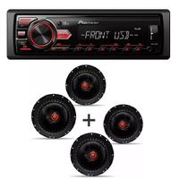 Som Automotivo Pioneer Mvh-98ub Usb Frontal Mp3 e Kit 4 Alto Falante Bomber Triaxial 6 Pol 200w