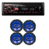 Som Automotivo Pioneer Mvh-98ub Usb Frontal Mp3 e Kit 4 Auto Falantes Hurricane 6 Pol