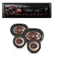 Som Automotivo Pioneer Mvh-98ub Usb Frontal Mp3 e Kit Auto Falante Bravox Facil 6 Triaxial Quadriaxial 6x9 - Pioneer / bravox