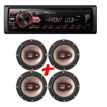 Som Automotivo Pioneer Mvh-98ub Usb Mp3 e Kit 4 Auto Falante Bravox 6 50w