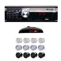 Som Automotivo Rádio Fm Mp3 Bluetooth USB SD + Sensor Estacionamento - X3automotive