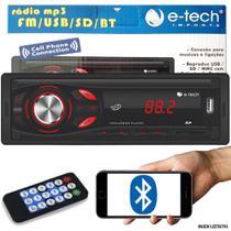 Som Automotivo Rádio MP3 E-Tech Light Bluetooth USB SD Card -