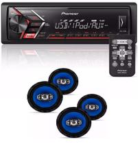 Som Mp3 Pioneer Mvh-s108ui  Android Iphone com Kit 4 Alto Falantes Orion 6 Pol 220w Rms - Pioneer / orion