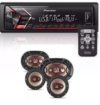 Som Mp3 Pioneer Mvh-s108ui Android Iphone com Kit Facil Bravox Alto Falante 6 + 6x9 Pol 240w