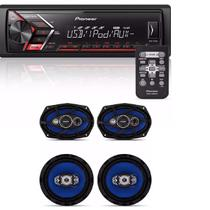 Som Mp3 Pioneer Mvh-s108ui Android Iphone com Kit Facil Bravox Alto Falante 6 + 6x9 Pol 240w - Pioneer / orion