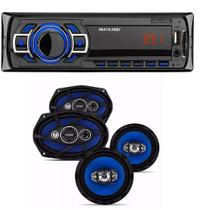 Som Mp3 Player Multilaser New One e 1 Par Auto Falantes Quadraxial  6 Pol e 1 Par 6 X 9