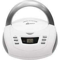 Som Portátil Lenoxx BD112 CD Player Rádio AM/FM Entrada Auxiliar - Branco e Prata -