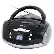 Som Portátil Philco PH61, Rádio FM Estério, CD-R/RW, Auxiliar, Bivolt - Preto -