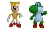 Sonic Amarelo e Yoshi Collection Original - 2 Bonecos Grandes - Super Size Figure Collection