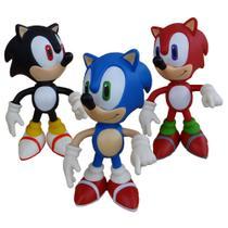 Sonic Azul Sonic Vermelho Sonic Preto - 3 Bonecos Grandes - Super Size Figure Collection
