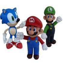 Sonic azul, Super Mario, Luigi  - kit com 3 bonecos grandes - Super Size Figure Collection