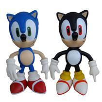 Sonic e Sonic Preto Collection Original - 2 Bonecos Grandes - Super Size Figure Collection